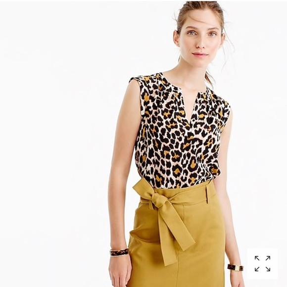 3c85e84e11863c J. Crew Tops - Jcrew Cuffed-sleeve top in leopard print